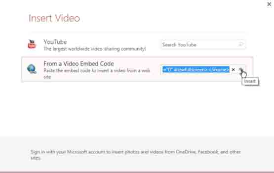 embed youtube to ppt