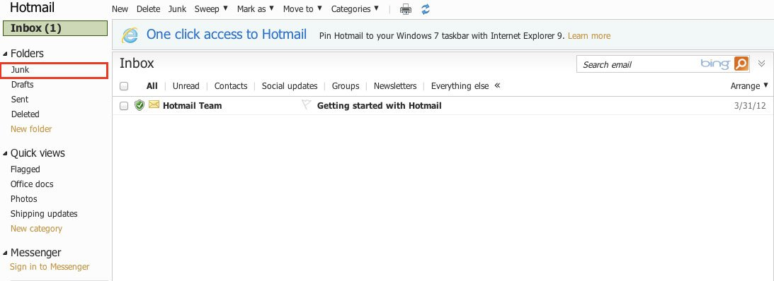 junk Hotmail android