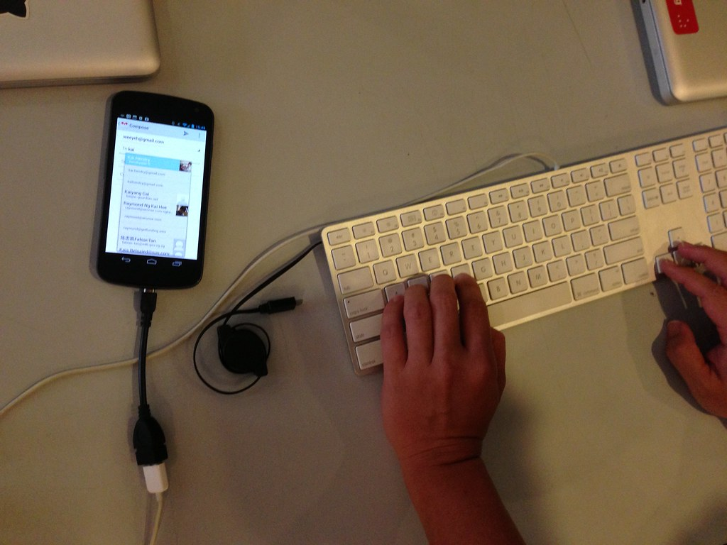 USB keyboard attached to an Android